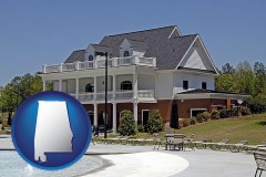 alabama map icon and a clubhouse and pool at a country club