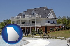 georgia map icon and a clubhouse and pool at a country club