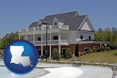 louisiana map icon and a clubhouse and pool at a country club