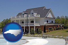 north-carolina map icon and a clubhouse and pool at a country club