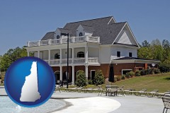 new-hampshire map icon and a clubhouse and pool at a country club