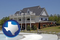 texas map icon and a clubhouse and pool at a country club