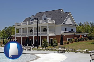 a clubhouse and pool at a country club - with Alabama icon