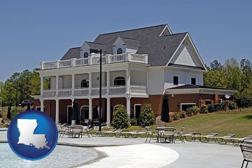 a clubhouse and pool at a country club - with Louisiana icon