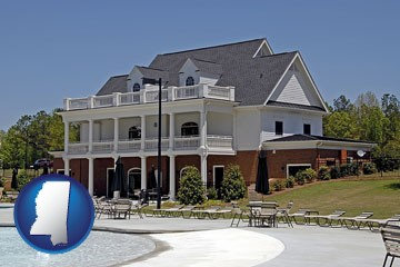 a clubhouse and pool at a country club - with Mississippi icon