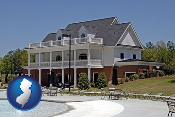 a clubhouse and pool at a country club - with New Jersey icon