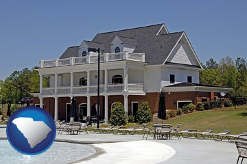 a clubhouse and pool at a country club - with South Carolina icon