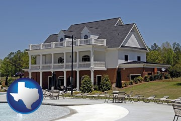 a clubhouse and pool at a country club - with Texas icon