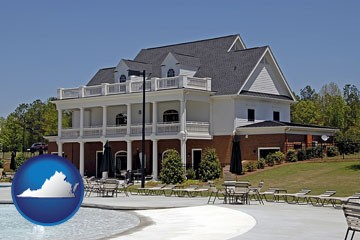 a clubhouse and pool at a country club - with Virginia icon